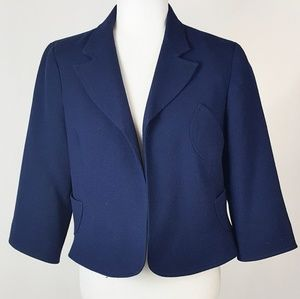 Walter by Walter Baker Cropped Blazer Navy Blue 14